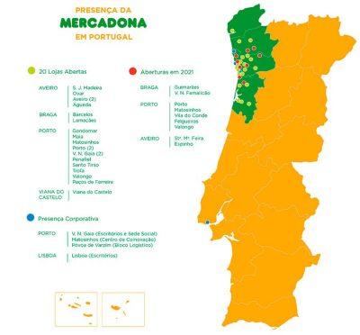 Mapa Mercadona Portugal